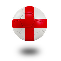 Soccer ball with England flag isolated in white