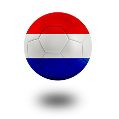 Soccer ball with Netherlands flag isolated in white