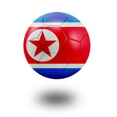 Soccer ball with North Korea flag isolated in white