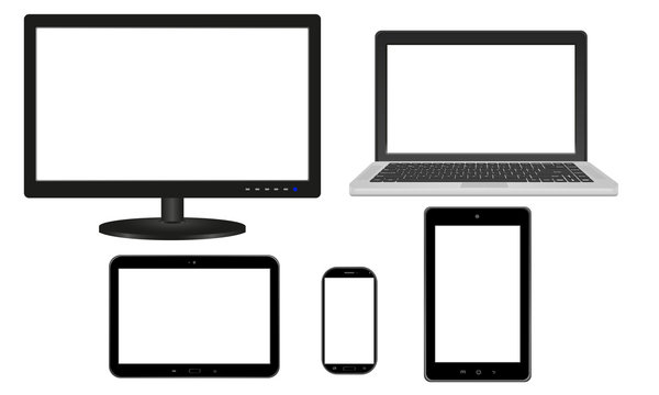 Monitor, laptop, tablet, smartfon - biały ekran