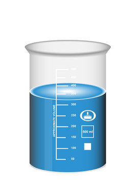 Chemical beaker with blue water solution and scale