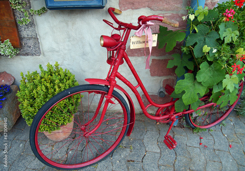 Willkommen Altes Fahrrad In Schoner Dekoration Stockfotos Und