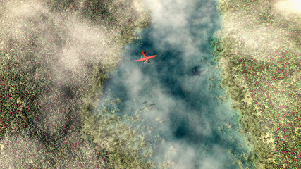Aluminium Prints Dark grey Aerial of red airplane flying over spring meadow with river. Som