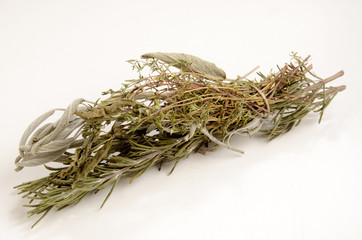 dried herbs on a light background