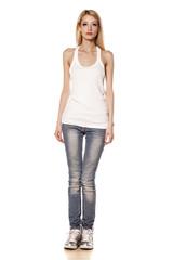 skinny blonde girl standing on white background