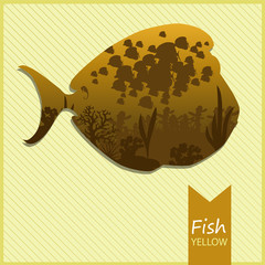 Vector image of an fish on yellow background