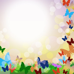 Vector background with butterflies and grass