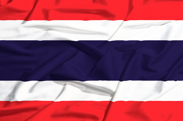 Thailand flag on a silk drape waving