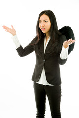 Asian young businesswoman dressed up as black angel don't know