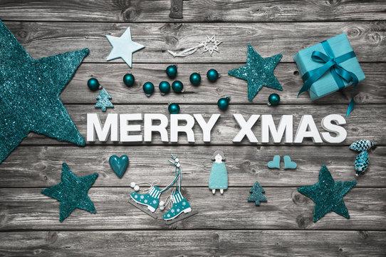 Merry Xmas - Weihnachtskarte in türkis mit Text bzw. Buchstaben