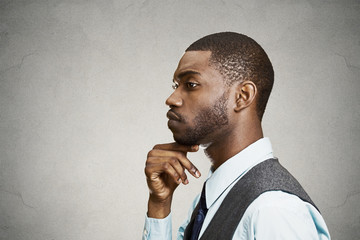 Side view profile portrait sad daydreaming, thinking businessman