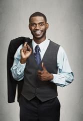 Closeup portrait happy businessman giving thumbs up