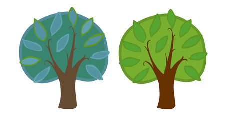 The illustration of two cartoon trees.