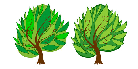 The illustration of two cartoon trees