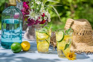 Cold drink served in a summer garden