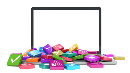 Computer mobility. laptop with color application icons