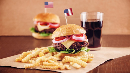 American Cheese Burger with French Fries and Cola
