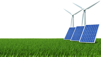 Solar Panel and wind energy on green grass
