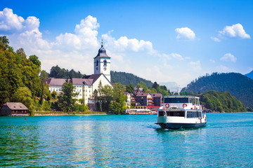 Water bus crossing Wolfgangsee