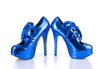 Elegant metallic blue female shoes