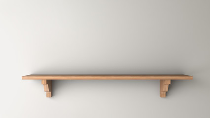 wooden shelf on a gray wall