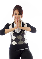 Indian businesswoman welcoming with hands joined