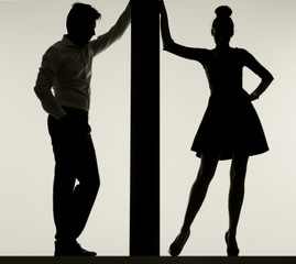 Couple leaning against the thin board
