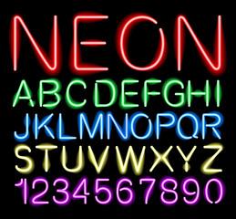 font neon light vector
