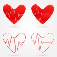 Set of hearts beats graph vector icons