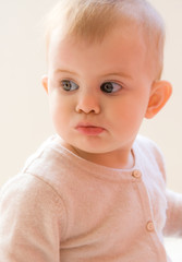 Closeup portrait of funny baby