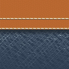 Jeans fabric and leather background
