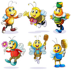 A group of happy bees