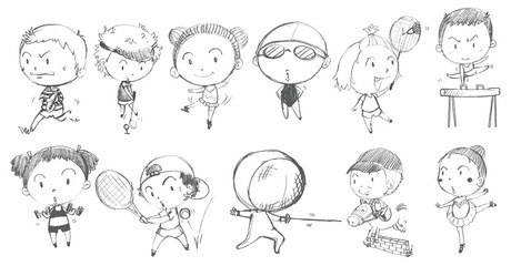Doodle design of kids playing with the different sports