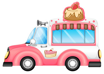 A pink vehicle selling cakes