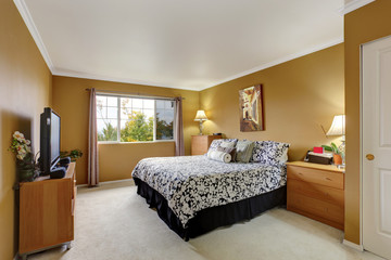 Bedroom inteior in mustard color