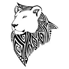 Leo head tribal tattoo vector