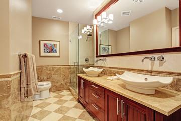 Modern bathroom interior in soft brown tones