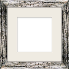 natural square size wooden photo frame with cut board