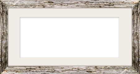 horizontal size natural wooden photo frame with cut board