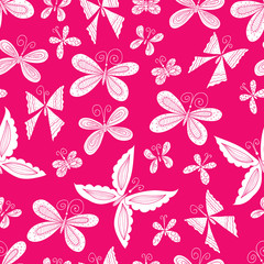 Vector seamless pattern with butterfly.