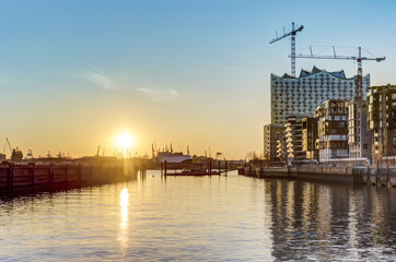 Sunset at Hafencity in Hamburg