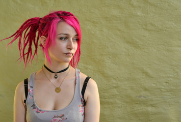 Girl with red Rasta Hairs