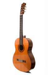 chitarra classica in fondo bianco