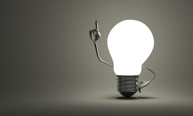 Light bulb with big hands in moment of insight on gray