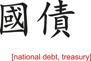 Chinese Sign for national debt, treasury