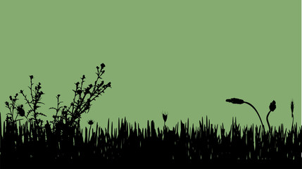 Vector silhouette of meadow.