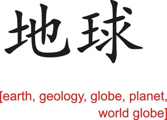 Chinese Sign for earth, geology, globe, planet, world globe