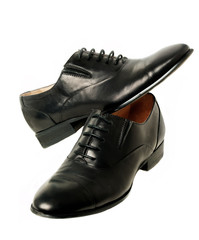 Classic black woman's shoes at white