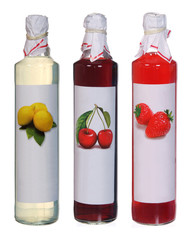 set of colourful juice bottles isolated on white