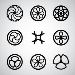 Round symbols vector set.